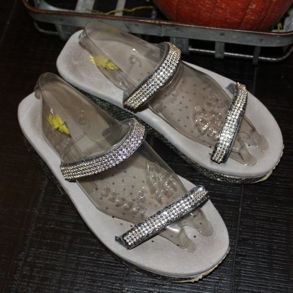 Volatile Flip Flop Wedge Silver Shimmer Womens 8